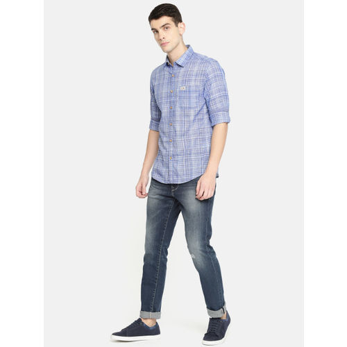 U.S. Polo Assn. Denim Co. Men Blue & Off-White Slim Fit Checked Casual Shirt