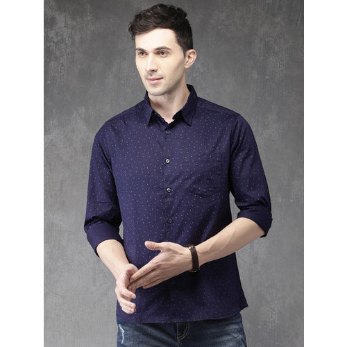 Anouk Men Navy Blue Regular Fit Printed Casual Shirt
