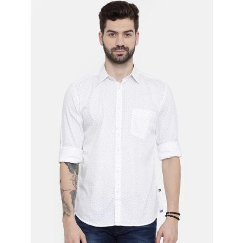Parx Men White & Blue Printed Regular Fit Casual Shirt