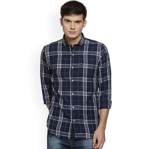 Campus Sutra Men Blue & White Regular Fit Checked Casual Shirt