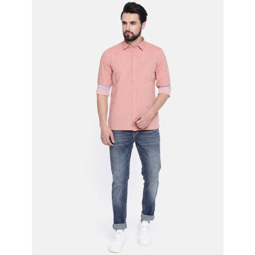 Pepe Jeans Men Red Regular Fit Self Design Casual Shirt