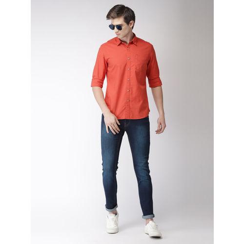 Flying Machine Men Rust Orange Regular Fit Solid Casual Shirt