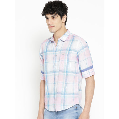 Pepe Jeans Men White & Pink Regular Fit Checked Casual Shirt