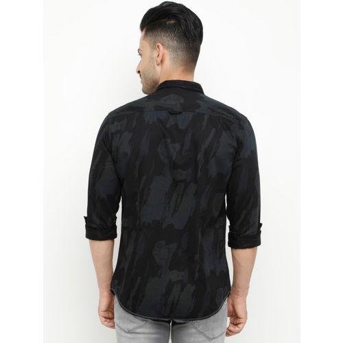 SHOWOFF Men Charcoal Slim Fit Printed Casual Shirt