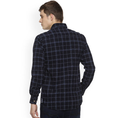 Campus Sutra Men Navy Blue Regular Fit Checked Casual Shirt