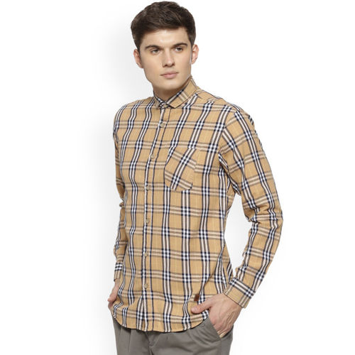 Campus Sutra Men Beige & Black Regular Fit Checked Casual Shirt
