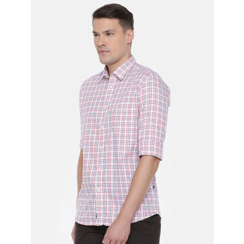 Parx Men White & Red Slim Fit Checked Casual Shirt