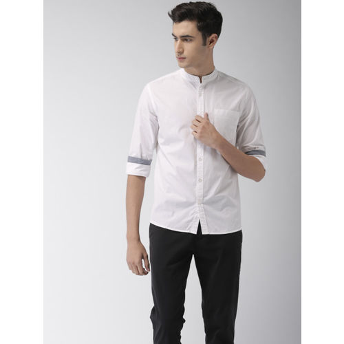 Flying Machine Men White Regular Fit Solid Casual Shirt