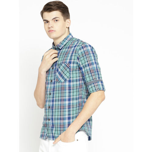 Pepe Jeans Men Blue & Green Regular Fit Checked Casual Shirt
