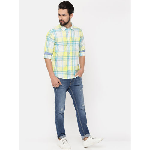 Pepe Jeans Men Yellow & White Regular Fit Checked Casual Shirt
