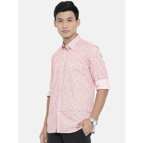 Parx Men Red & Off-White Slim Fit Printed Casual Shirt