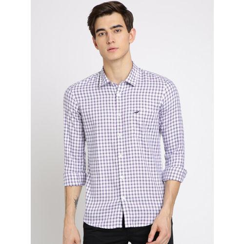 Crocodile Men Purple & White Twill Weave Slim Fit Checked Casual Shirt