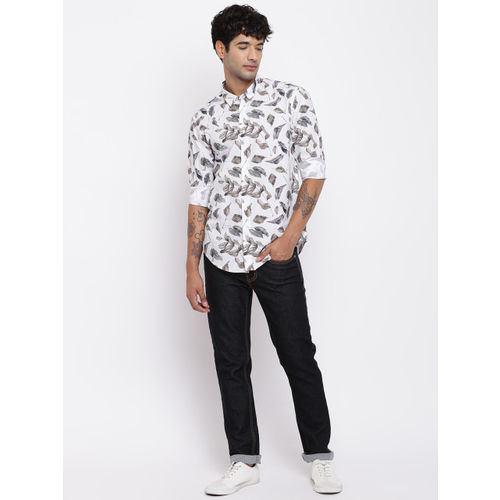 Blackberrys Men White & Brown Regular Fit Printed Casual Shirt