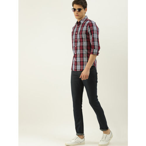 United Colors of Benetton Men Grey & Red Slim Fit Checked Casual Shirt