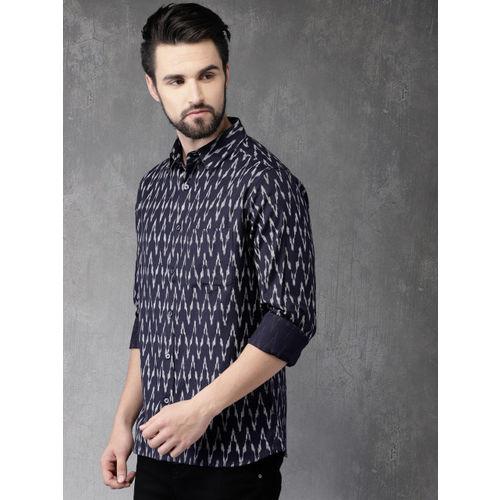 Anouk  Navy Blue Regular Fit Printed Casual Shirt