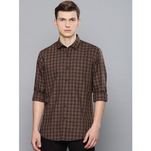 Louis Philippe Sport Men Brown Slim Fit Checked Casual Shirt