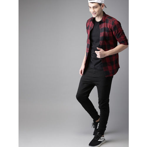 HERE&NOW Red & Black Slim Fit Checked Casual Shirt