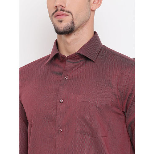 Blackberrys Men Maroon Slim Fit Self Design Dual-Toned Smart Casual Shirt