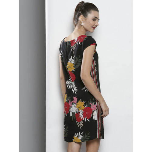 DOROTHY PERKINS Women Black Floral Print Shift Dress