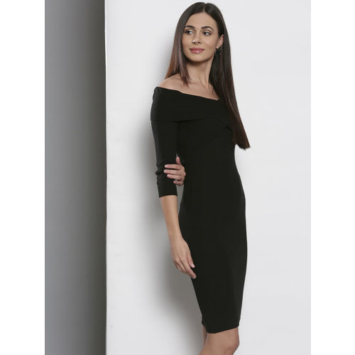 DOROTHY PERKINS Women Black Self Striped Sweater Dress