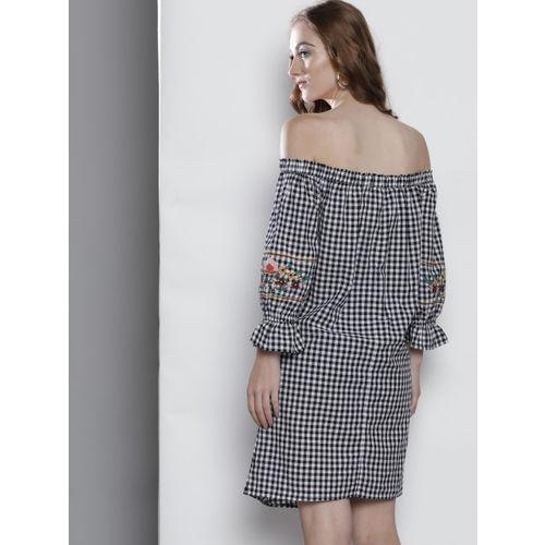 DOROTHY PERKINS Women Black Checked Off Shoulder A-Line Dress