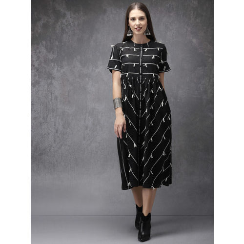 Anouk Women Black & White Striped A-Line Fusion Kurta