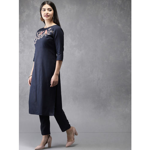 Anouk Women Navy Blue Embroidered Kurta with Trousers
