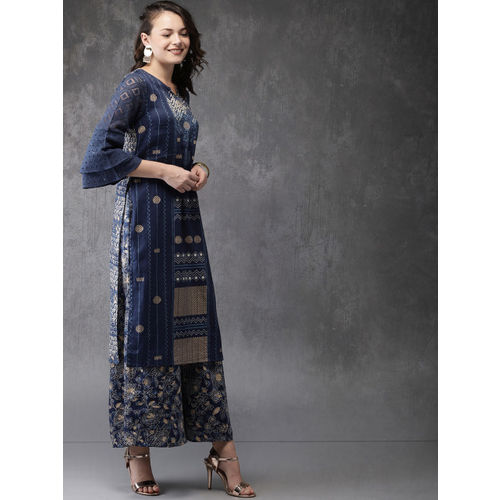 Anouk Women Indigo Printed Kurta with Palazzos