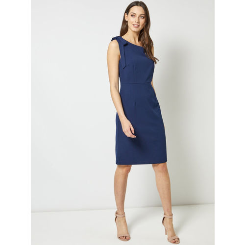 DOROTHY PERKINS Women Navy Blue Solid Sheath Dress