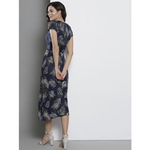DOROTHY PERKINS Women Navy Blue & White Printed A-Line Dress