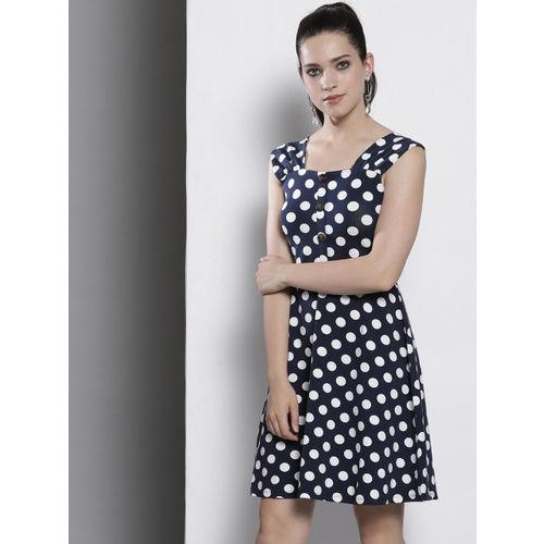 DOROTHY PERKINS Women Navy Blue Printed A-Line Dress