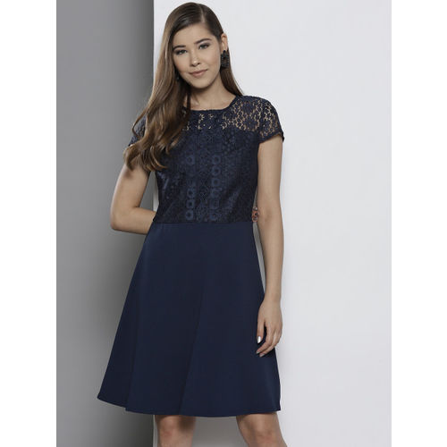 DOROTHY PERKINS Women Navy Blue Lace Fit and Flare Dress