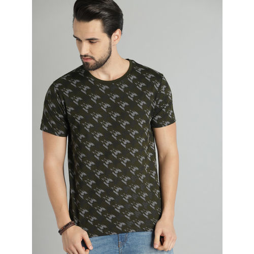 Roadster Men Olive Green & Grey Printed Round Neck T-shirt