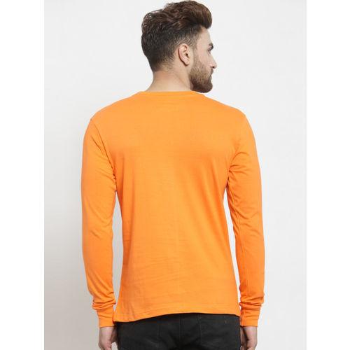 Friskers Men Orange Printed Round Neck T-shirt