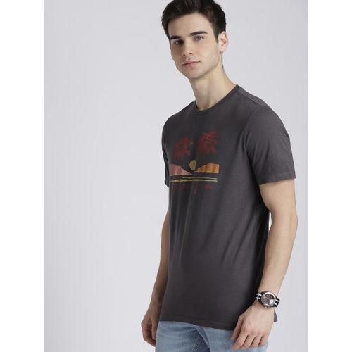 GAP Men Charcoal Printed Round Neck T-shirt