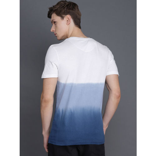 WROGN Men White & Blue Dyed Round Neck T-shirt