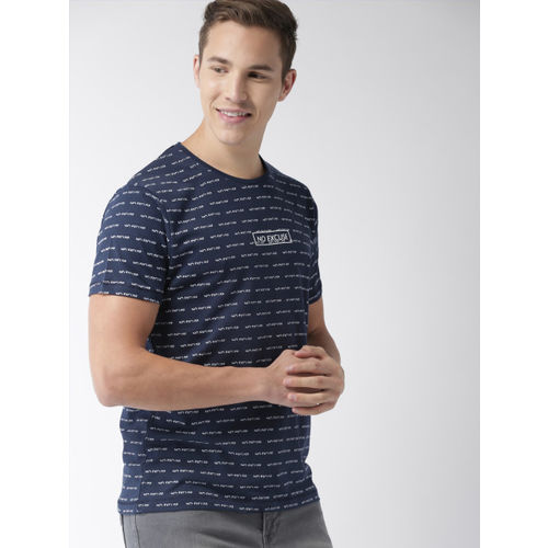 Mast & Harbour Men Navy Blue & White Printed Round Neck T-shirt