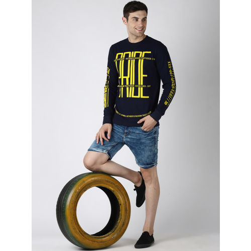 Difference of Opinion Men Navy Blue & Yellow Printed Round Neck T-shirt
