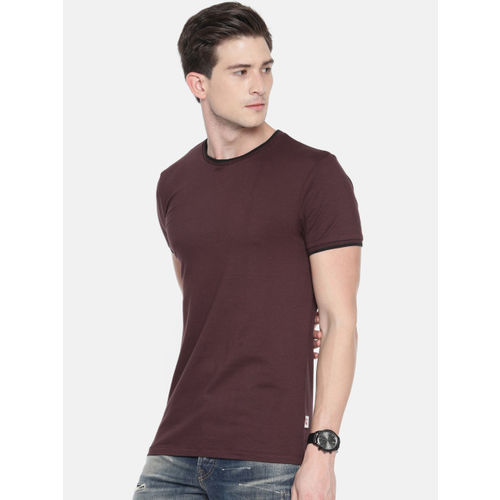 Jack & Jones Men Burgundy Solid Round Neck T-shirt