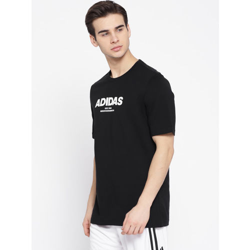 ADIDAS Men Black ESS Allcap Solid Round Neck Training T-shirt