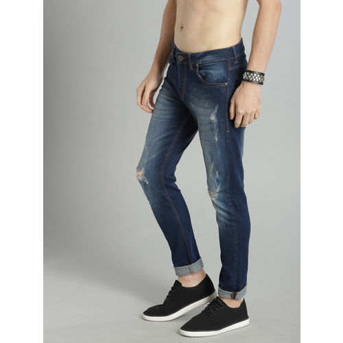 Roadster Men Blue Skinny Fit Mid-Rise Mildly Distressed Stretchable Jeans