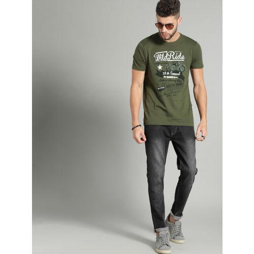Roadster Men Olive Green Printed Round Neck T-shirt