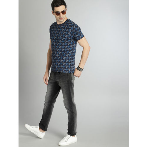 Roadster Men Blue & Grey Printed Round Neck T-shirt