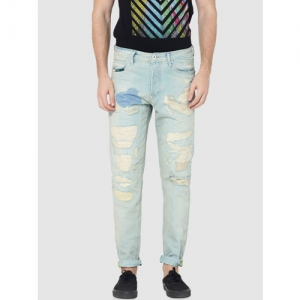 Jack & Jones Men Blue Tapered Fit High-Rise Highly Distressed Jeans