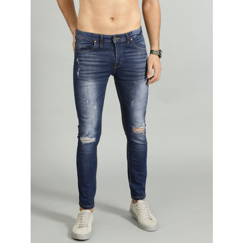 Roadster Blue Denim Skinny Fit Ripped Stretchable Jeans