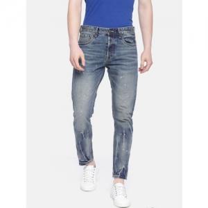 Jack & Jones Men Blue Erik Anti Fit High-Rise Low Distress Jeans