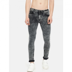 HERE&NOW Black Denim Skinny Fit Clean Look Stretchable Jeans