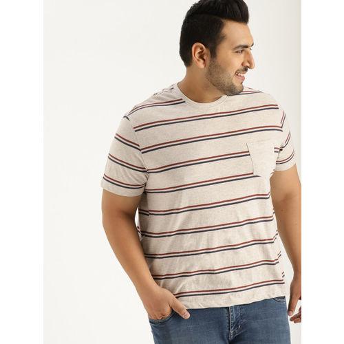 Sztori Men Grey Melange Striped Round Neck T-shirt