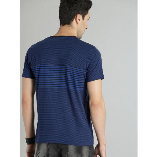 Roadster Men Blue & Black Striped Round Neck T-shirt