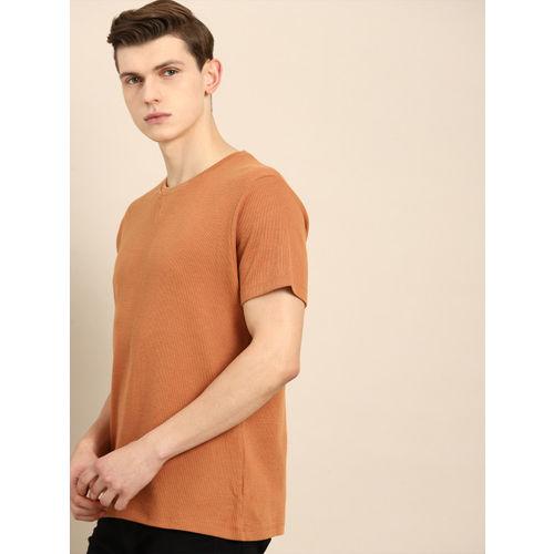 ether Men Tan Brown Self Design Round Neck T-shirt